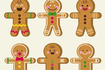 6款美味姜饼人设计矢量素材