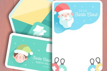 可爱圣诞老人信封和信纸矢量图
