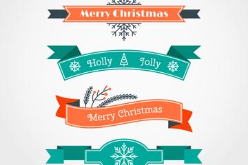 5款彩色复古圣诞节条幅矢量素材