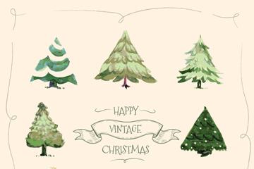 8款手绘复古圣诞树矢量素材