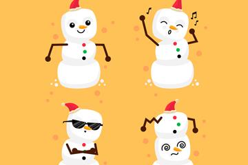 4款白色圣诞雪人矢量素材