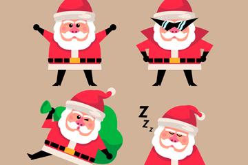 4款可爱时尚圣诞老人矢量素材