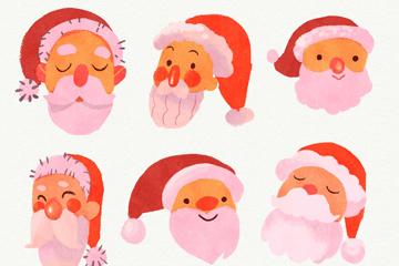 6款水彩绘圣诞老人头像矢量图
