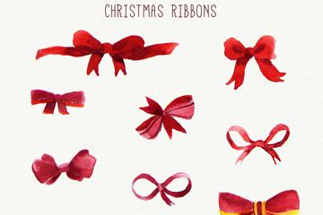 10款水彩绘圣诞蝴蝶结矢量素材
