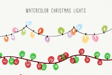 4款水彩绘圣诞彩灯串矢量素材