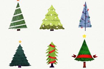 6款创意手绘圣诞树矢量素材
