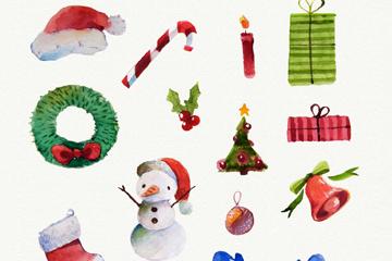 13款水彩绘圣诞元素矢量素材