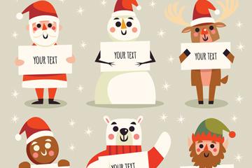 6款可爱举圣诞快乐纸板的角色矢量图