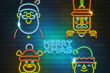 4款彩色圣诞角色霓虹灯矢量素材