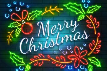 彩色圣诞节霓虹灯花环矢量素材