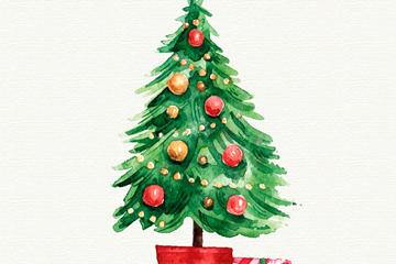 水彩绘圣诞树和礼物矢量素材