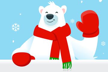 可爱打招呼的北极熊矢量素材