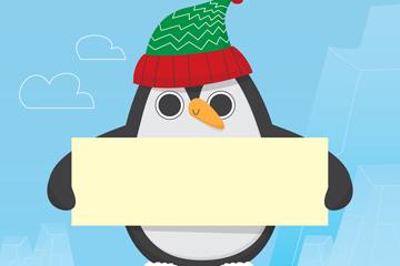 创意举白纸板的企鹅矢量素材