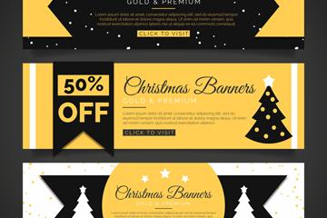 3款黄黑创意圣诞节促销banner矢量素材