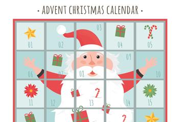 创意圣诞老人圣诞月月历矢量图