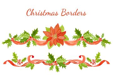 3款水彩绘圣诞节花边矢量素材