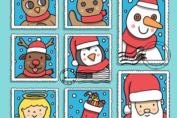8款彩绘圣诞节邮票矢量素材