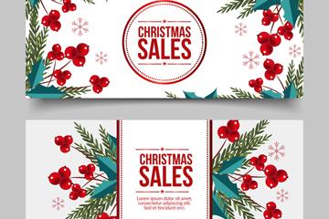 2款创意枸骨圣诞节促销banner矢量素材