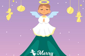 可爱圣诞树上的天使矢量素材