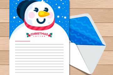 卡通雪人圣诞信纸和信封矢量图