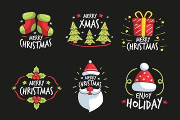 9款彩绘可爱圣诞节快乐标签矢量图