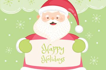 彩绘举贺卡的笑脸圣诞老人矢量素材
