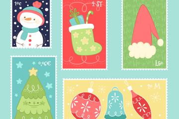 6款彩绘圣诞邮票矢量素材