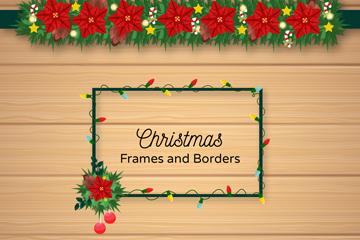3款精美圣诞节框架和花边矢量图