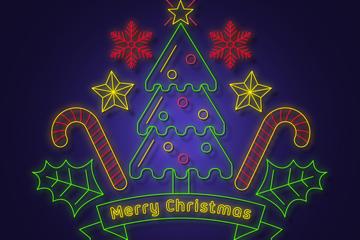 创意彩色霓虹灯圣诞树矢量素材
