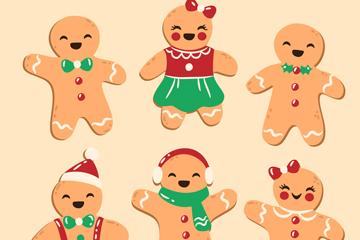 6款可爱笑脸圣诞节姜饼人矢量图