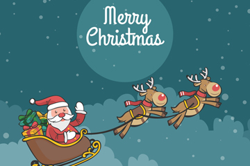 彩色圣诞老人和驯鹿车矢量素材