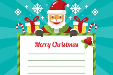 创意圣诞老人和礼物装饰信纸矢量图