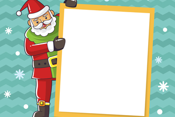 创意扶着白色纸张的圣诞老人矢量图