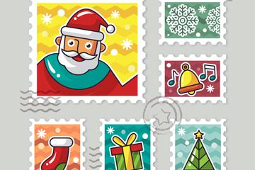 6款创意彩色圣诞节邮票矢量素材