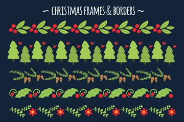 3款创意圣诞花环和7款圣诞花边矢量图