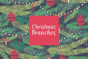 彩绘挂满装饰物的圣诞树枝矢量图