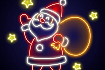 彩色背礼包的圣诞老人霓虹灯矢量素材