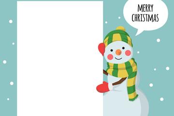 可爱圣诞雪人和空白纸张矢量图