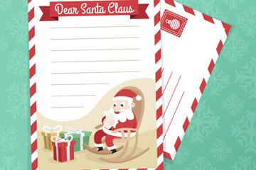 创意圣诞老人和礼盒信纸信封矢量