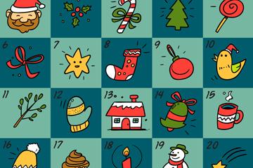创意手绘圣诞月月历矢量素材