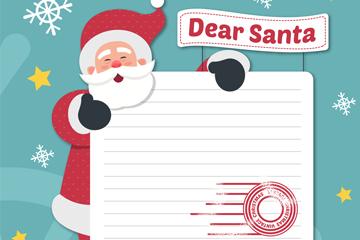 创意圣诞老人和信纸矢量图