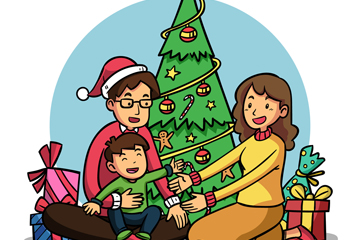 创意客厅里的圣诞家庭矢量素材