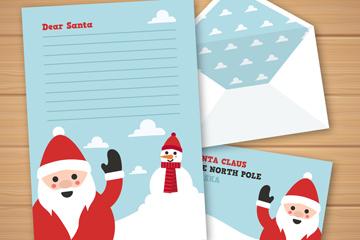 创意打招呼的圣诞老人信纸矢量图
