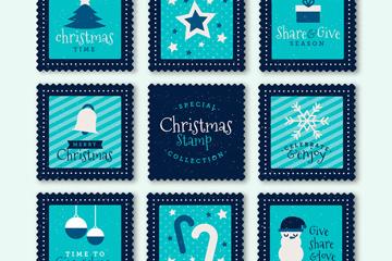 8款蓝色圣诞节邮票矢量素材