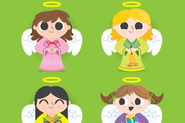 4款手绘圣诞小天使矢量素材