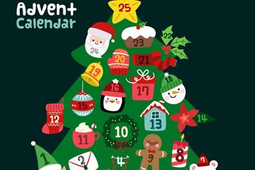 可爱圣诞树圣诞月月历矢量图