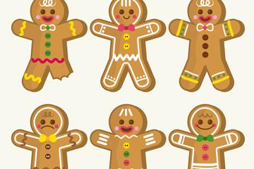6款彩色圣诞姜饼人矢量素材