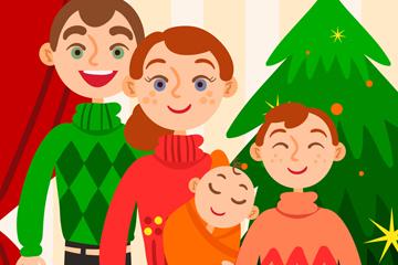 创意笑脸圣诞节四口之家矢量素材