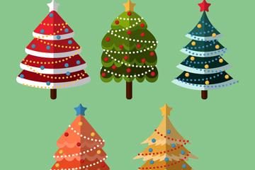 5款彩色扁平化圣诞树矢量优发娱乐