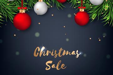 创意圣诞吊球和松枝促销海报矢量